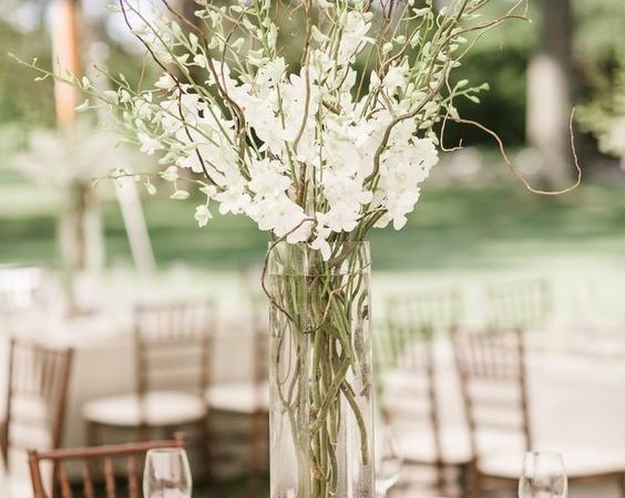 curly willow wedding branch centerpiece