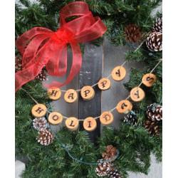 Happy Holidays Wood Round Garland or Wreath Decoration