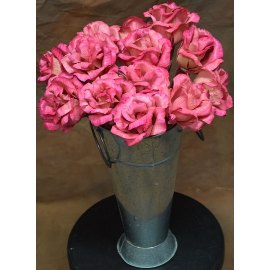Dried Pink Corn Husk Roses - Open Flowers