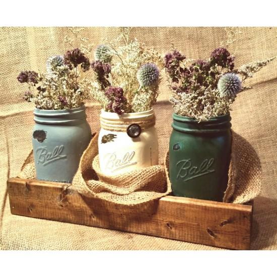 Dried Flower Painted Mason (Ball) Jar Set