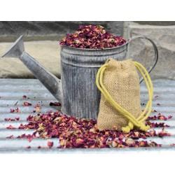 Rose Buds and Petal Burlap Sachets