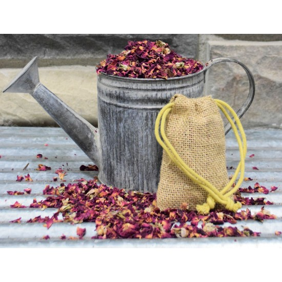 Rose Buds and Petal Burlap Sachets