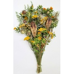 Dried Yellow Flower and Pod Bouquet