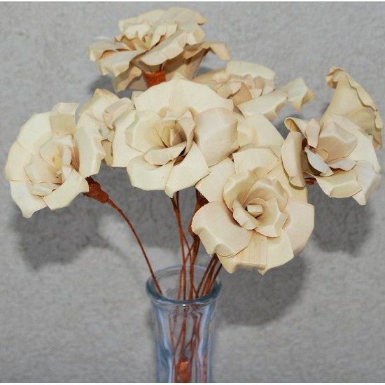 Wood Palm Roses Bunch