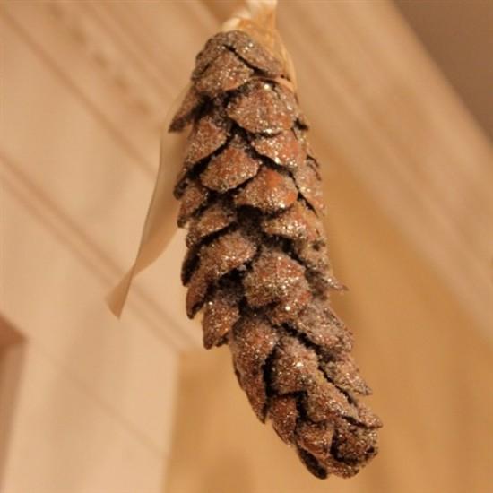 Snow Glittered Strobus Pine Cones