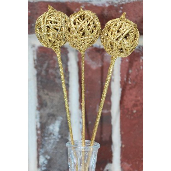 Dried Vine Latta Balls Stemmed - Gold, Red or White