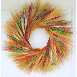Mixed Fall Wheat Wreath - 19 inch