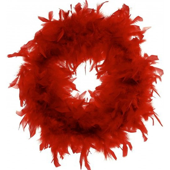 Red Chandelle Feather Wreath 18 inch diameter