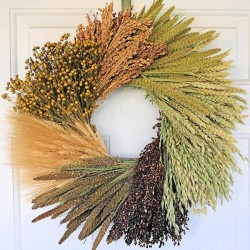 Dried Assorted Grains Wreath - 19 inch