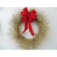 Dried Gold Quail Brush Wreath - Christmas