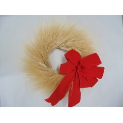Natural Christmas Wheat Wreath - 19 inch with Red Bow