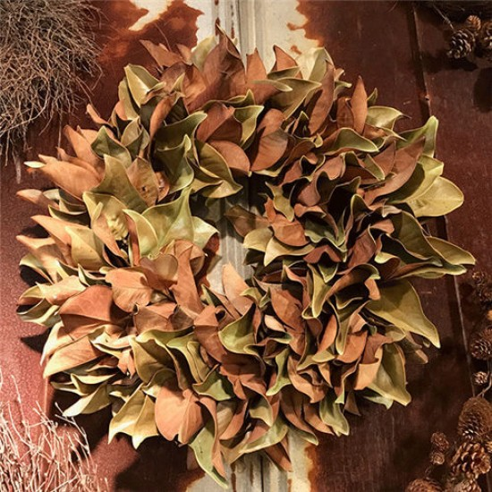 Dried Magnolia Wreath - 24 inch