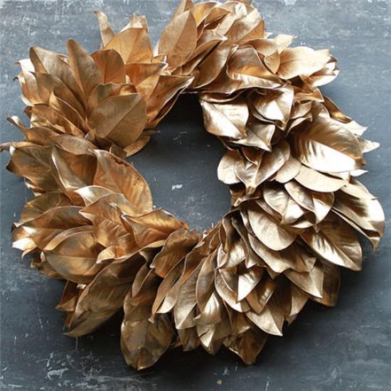 Dried Magnolia Wreath - Gold 24 inch