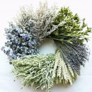 Little Cutie Flower Wheat Wreath - 15 inch