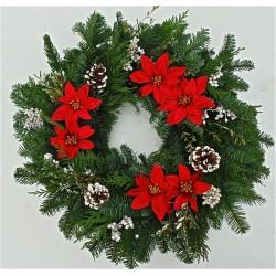 Fresh Poinsettia Wreath