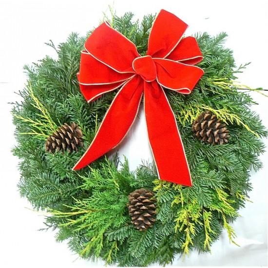 Fresh Traditional Holiday Wreath