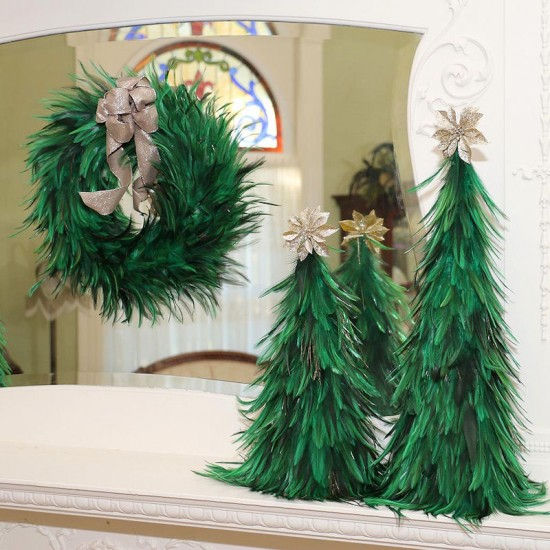 Green Hackle Feather Wreath 18 inch diameter