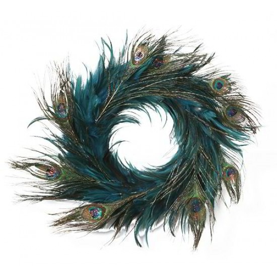 Peacock Feather Wreath - Turquoise 14-18