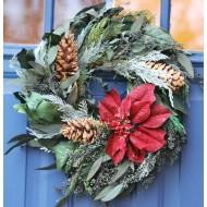 Poinsettia Festive Holiday Wreath
