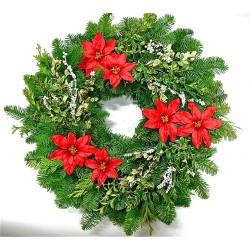 Fresh Holiday Poinsettia Noble Fir Wreath